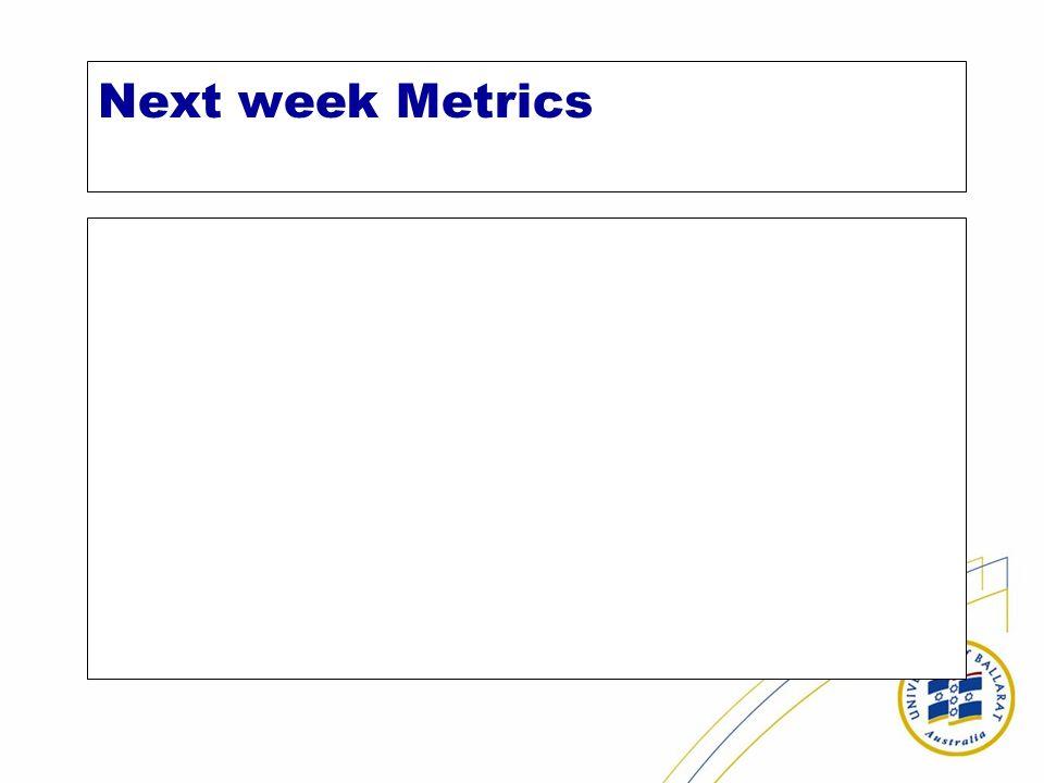 Next week Metrics