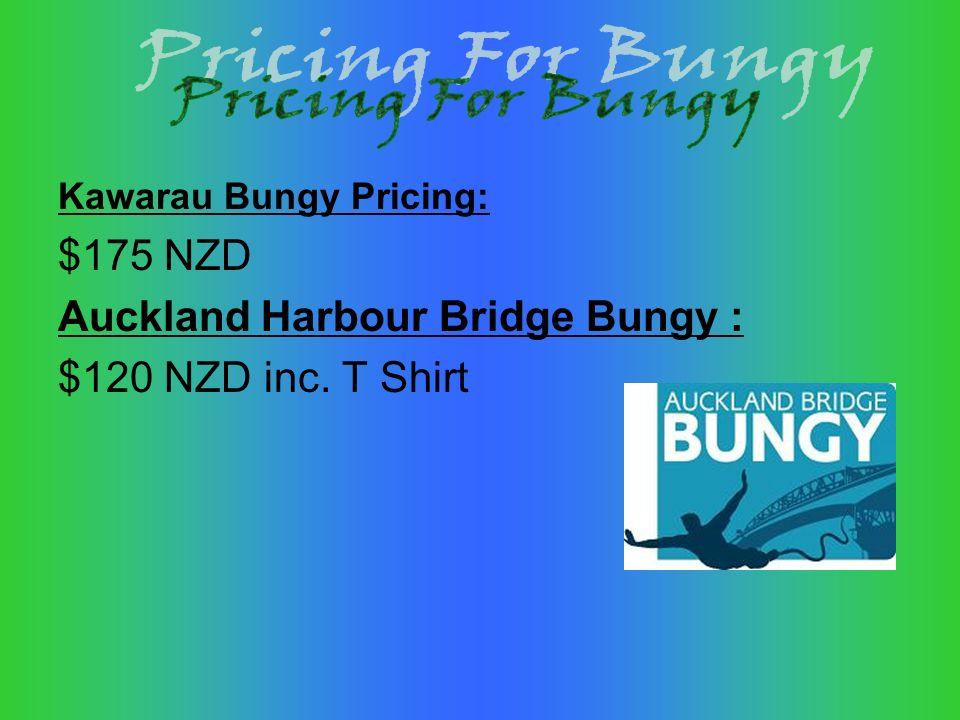 Kawarau Bungy Pricing: $175 NZD Auckland Harbour Bridge Bungy : $120 NZD inc. T Shirt