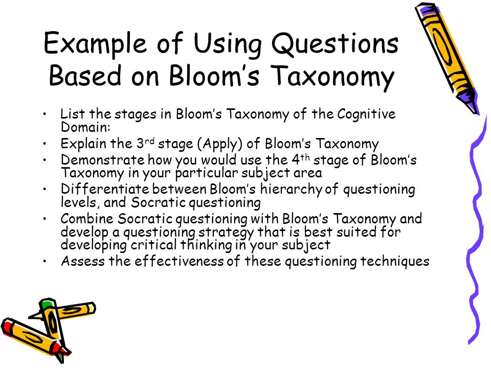 Example of Using Questions Based on Blooms Taxonomy List the stages in Blooms Taxonomy of the Cognitive Domain: Explain the 3 rd stage (Apply) of Blooms Taxonomy Demonstrate how you would use the 4 th stage of Blooms Taxonomy in your particular subject area Differentiate between Blooms hierarchy of questioning levels, and Socratic questioning Combine Socratic questioning with Blooms Taxonomy and develop a questioning strategy that is best suited for developing critical thinking in your subject Assess the effectiveness of these questioning techniques