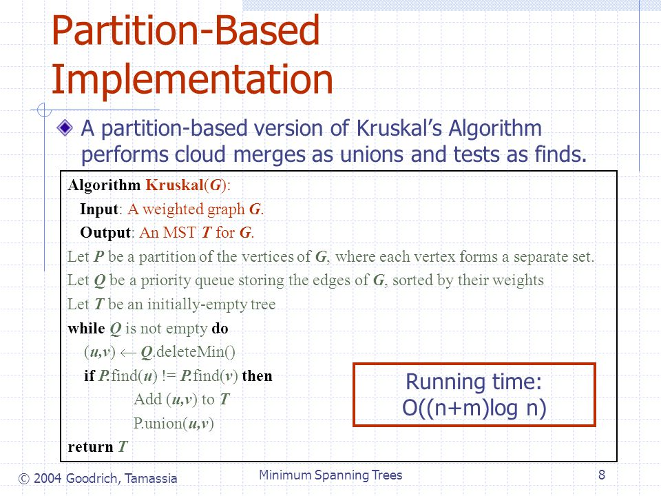 © 2004 Goodrich, Tamassia Minimum Spanning Trees8 Partition-Based Implementation A partition-based version of Kruskals Algorithm performs cloud merges as unions and tests as finds.