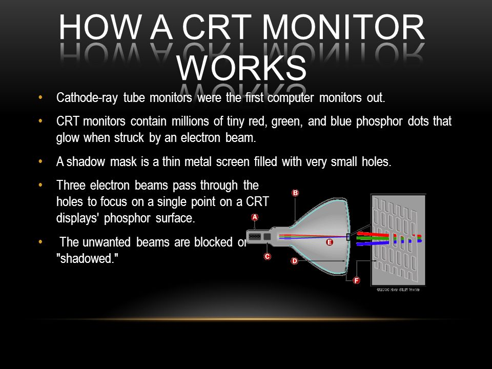 Cathode-ray tube monitors were the first computer monitors out. CRT monitors contain millions of tiny red, green, and blue phosphor dots that glow whe