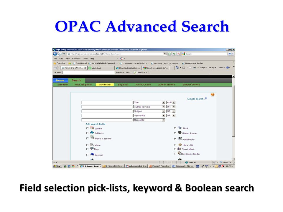 OPAC Advanced Search Field selection pick-lists, keyword & Boolean search