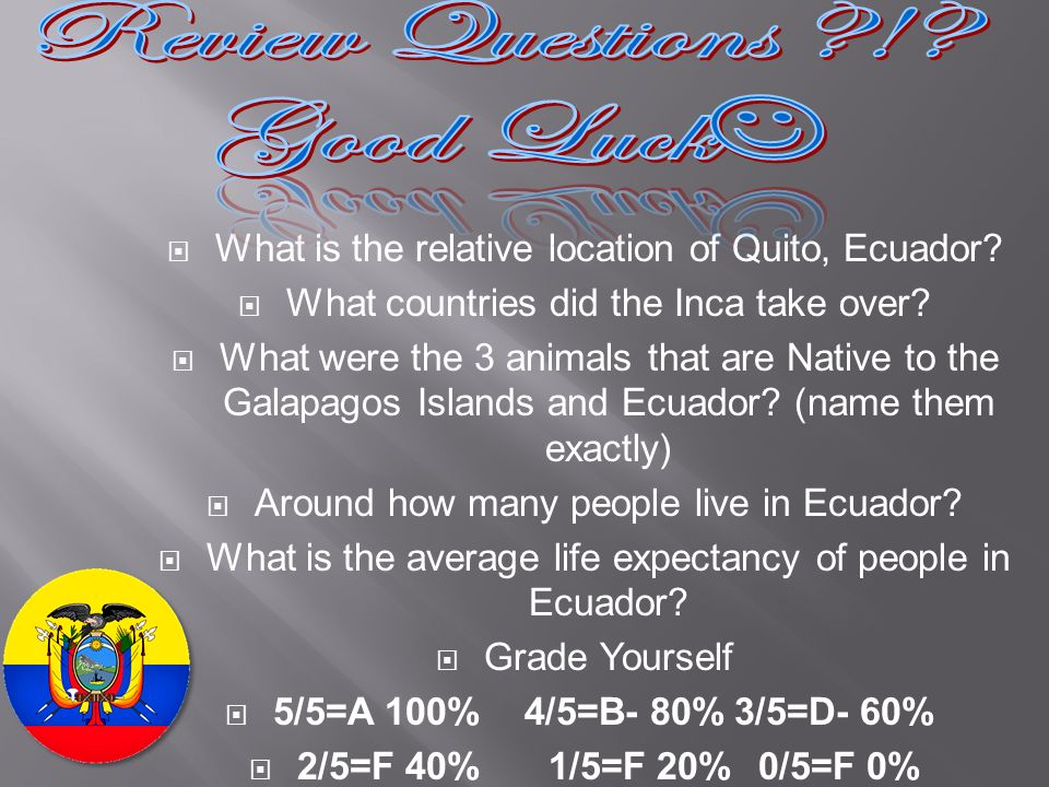 What is the relative location of Quito, Ecuador? What countries did the Inca take over? What were the 3 animals that are Native to the Galapagos Islan