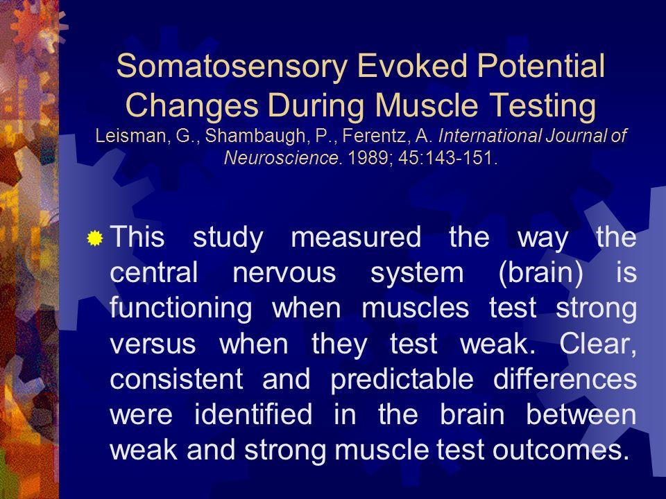 Somatosensory Evoked Potential Changes During Muscle Testing Leisman, G., Shambaugh, P., Ferentz, A.