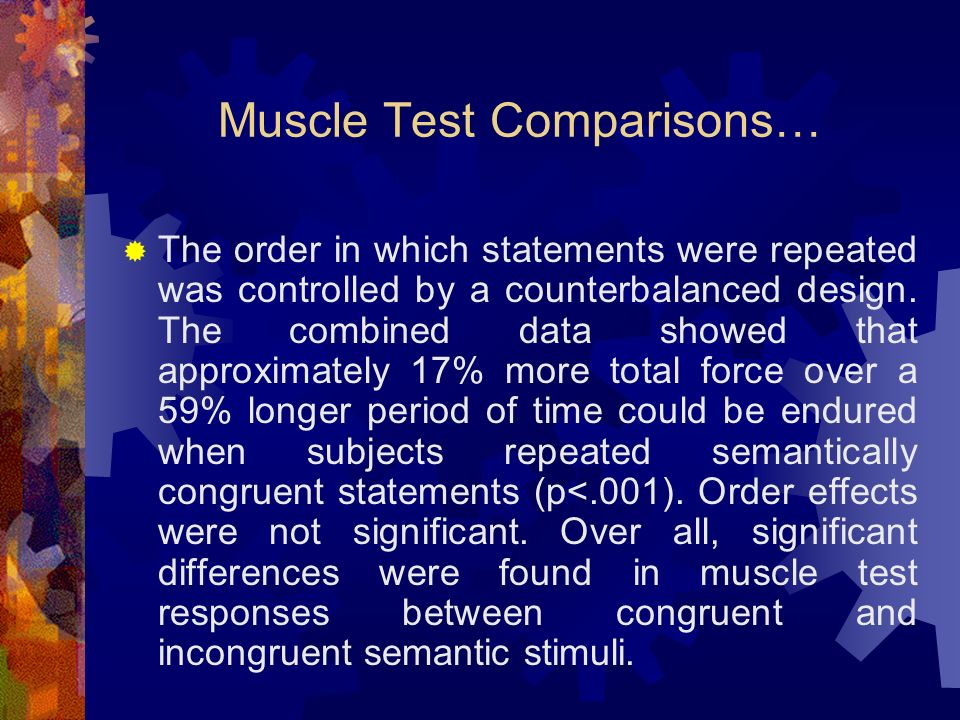 Muscle Test Comparisons… The order in which statements were repeated was controlled by a counterbalanced design.
