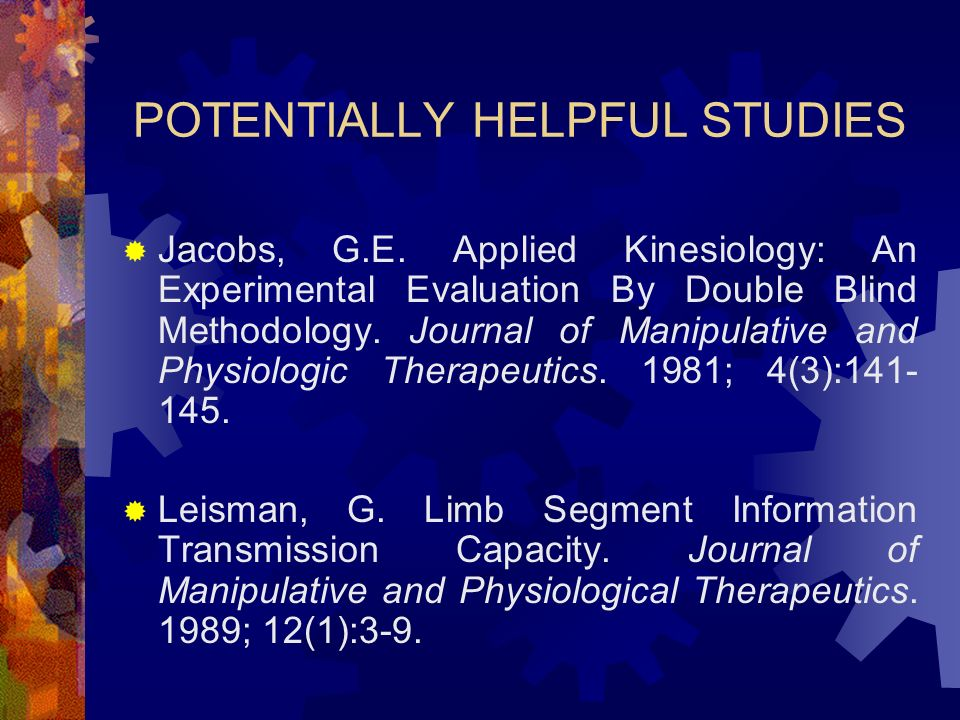 POTENTIALLY HELPFUL STUDIES Jacobs, G.E.