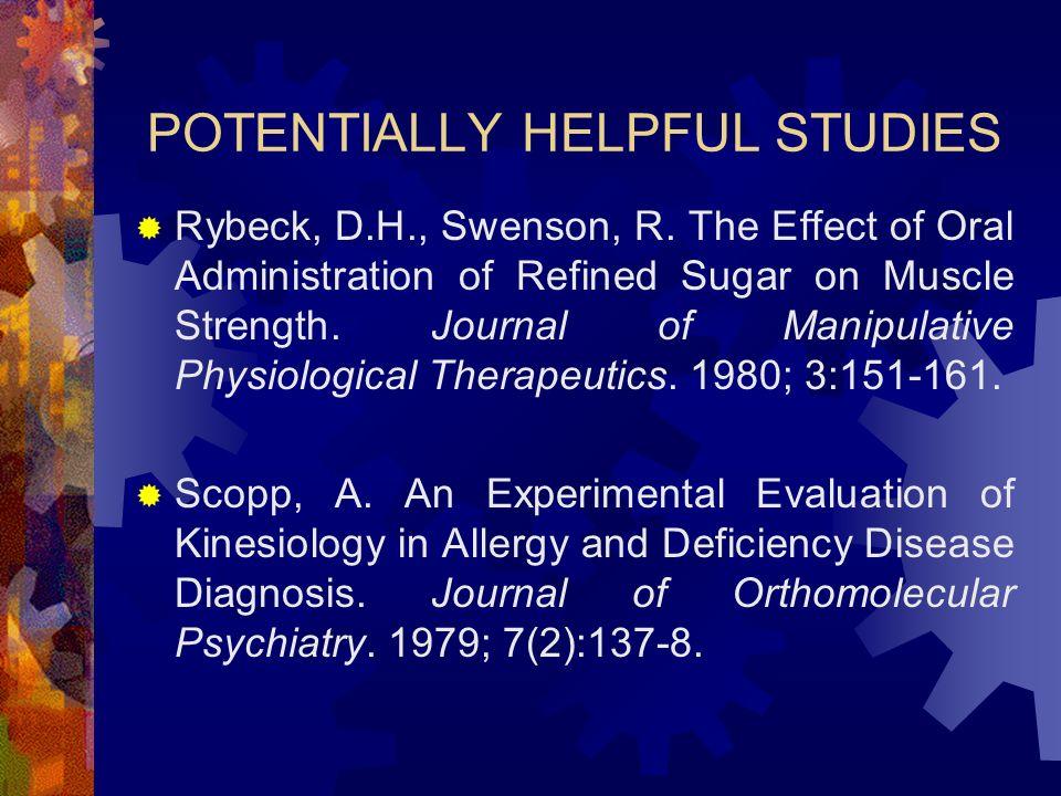 POTENTIALLY HELPFUL STUDIES Rybeck, D.H., Swenson, R.