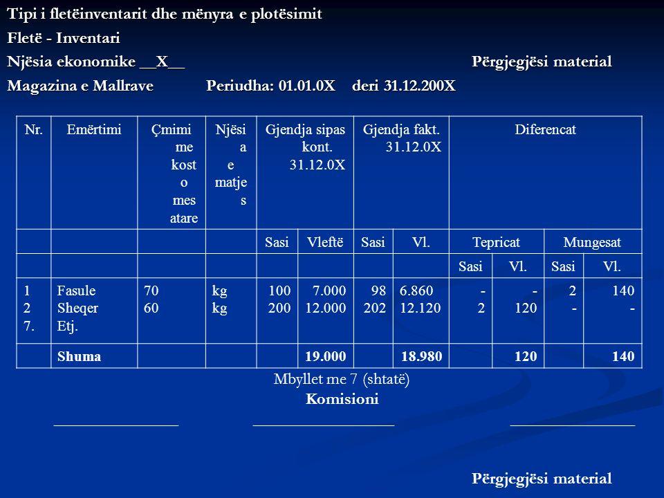 Tipi i fletëinventarit dhe mënyra e plotësimit Fletë - Inventari Njësia ekonomike __X__ Përgjegjësi material Magazina e Mallrave Periudha: 01.01.0X de