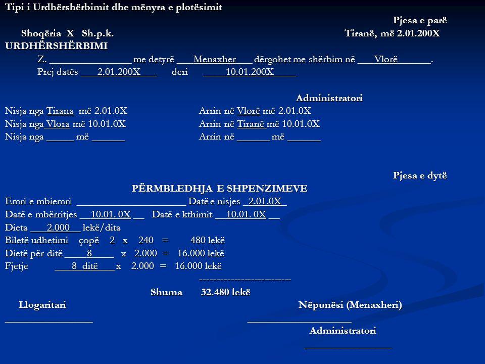 Tipi i Urdhërshërbimit dhe mënyra e plotësimit Pjesa e parë Shoqëria X Sh.p.k. Tiranë, më 2.01.200X Shoqëria X Sh.p.k. Tiranë, më 2.01.200XURDHËRSHËRB