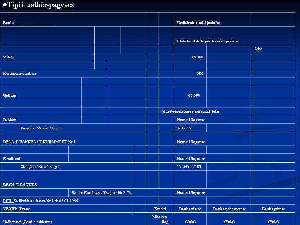Tipi i urdhër-pageses Tipi i urdhër-pageses Banka _________________ Urdhërxhirimi i jashtëm Fletë kontabile për bankën pritëse leke Valuta 45.000 Komi