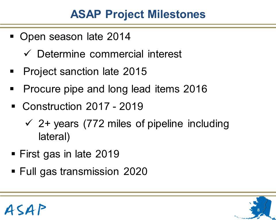 8 ASAP Project Milestones Open season late 2014 Determine commercial interest Project sanction late 2015 Procure pipe and long lead items 2016 Constru