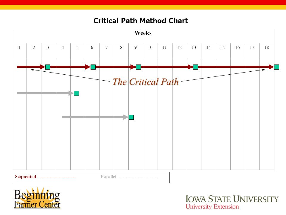 Critical Path Method Chart Weeks 123456789101112131415161718 Sequential ------------------------Parallel -------------------------- The Critical Path