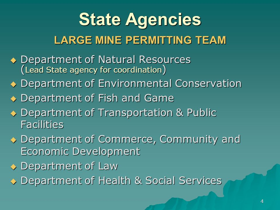 4 State Agencies LARGE MINE PERMITTING TEAM Department of Natural Resources Department of Natural Resources ( Lead State agency for coordination ) Department of Environmental Conservation Department of Environmental Conservation Department of Fish and Game Department of Fish and Game Department of Transportation & Public Facilities Department of Transportation & Public Facilities Department of Commerce, Community and Economic Development Department of Commerce, Community and Economic Development Department of Law Department of Law Department of Health & Social Services Department of Health & Social Services