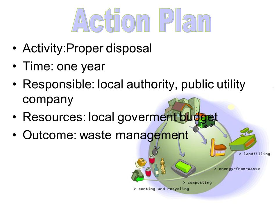 Activity:Proper disposal Time: one year Responsible: local authority, public utility company Resources: local goverment budget Outcome: waste manageme