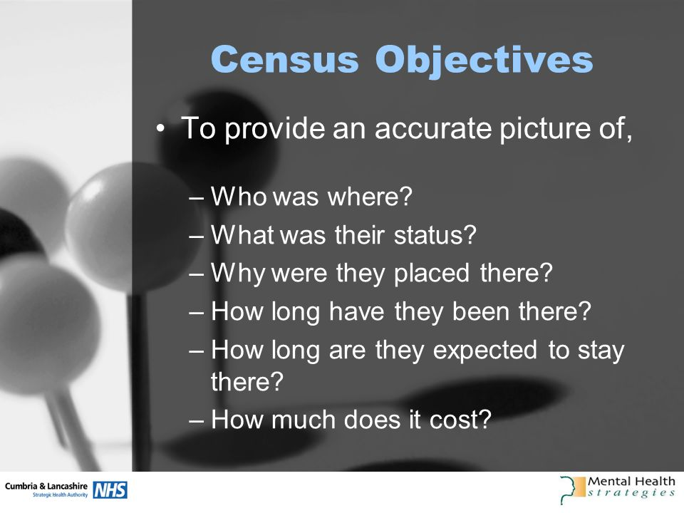 Census Objectives To provide an accurate picture of, –Who was where.