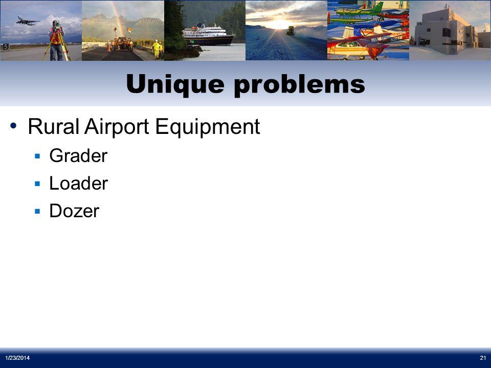 Rural Airport Equipment Grader Loader Dozer Unique problems 1/23/201421