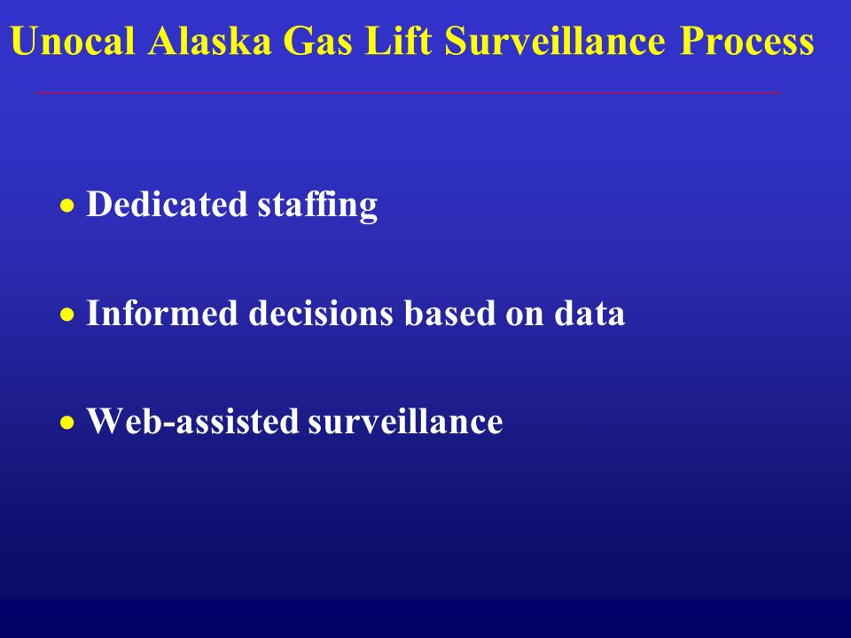 Unocal Alaska Gas Lift Surveillance Process Dedicated staffing Informed decisions based on data Web-assisted surveillance