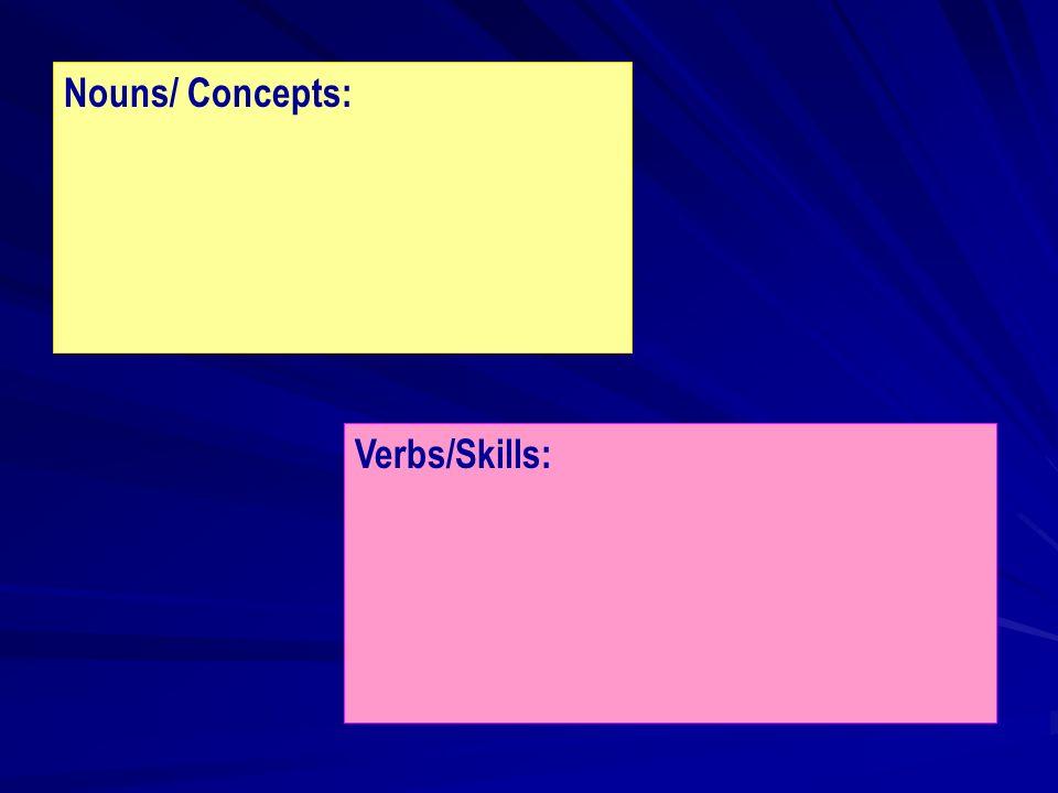 Nouns/ Concepts: Verbs/Skills: