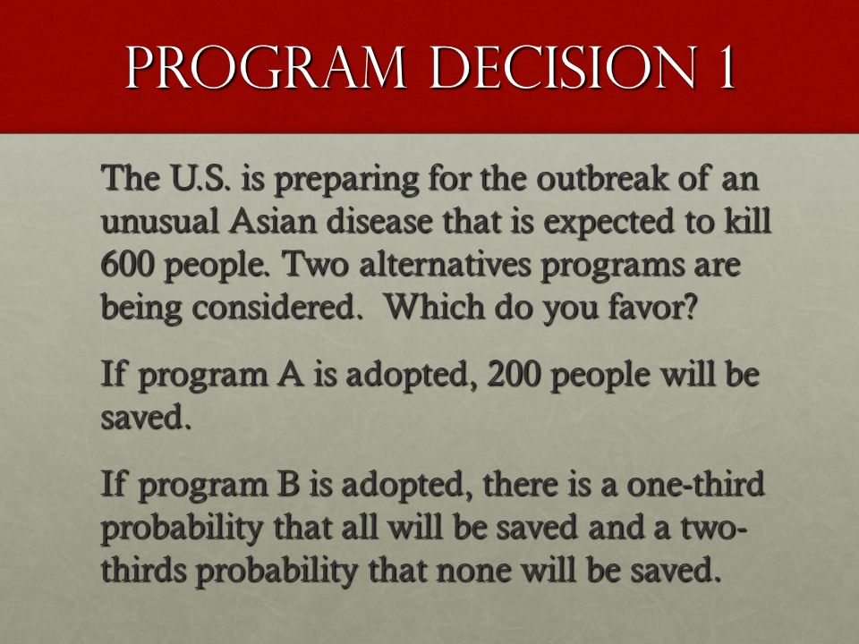 Program decision 1 The U.S. is preparing for the outbreak of an unusual Asian disease that is expected to kill 600 people. Two alternatives programs a