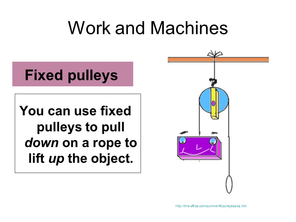 Work and Machines You can use fixed pulleys to pull down on a rope to lift up the object. Fixed pulleys http://the-office.com/summerlift/pulleybasics.