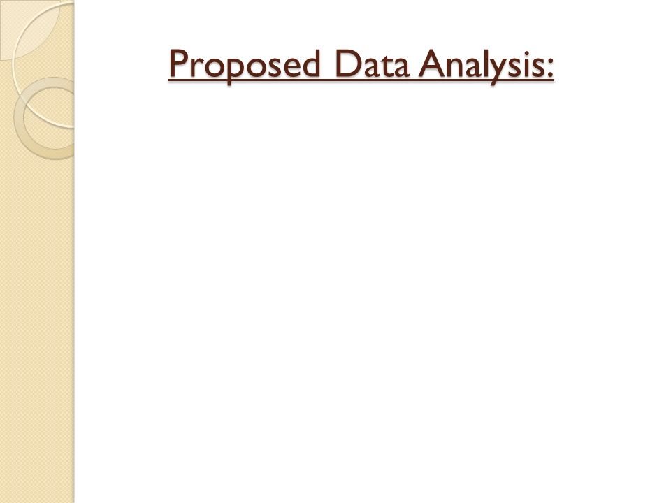 Proposed Data Analysis: Proposed Data Analysis: