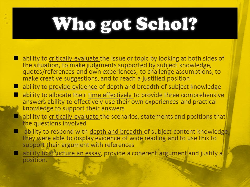 superficial use of critical thinking tools – e.g.using all parts of S.P.E.E.C.H.