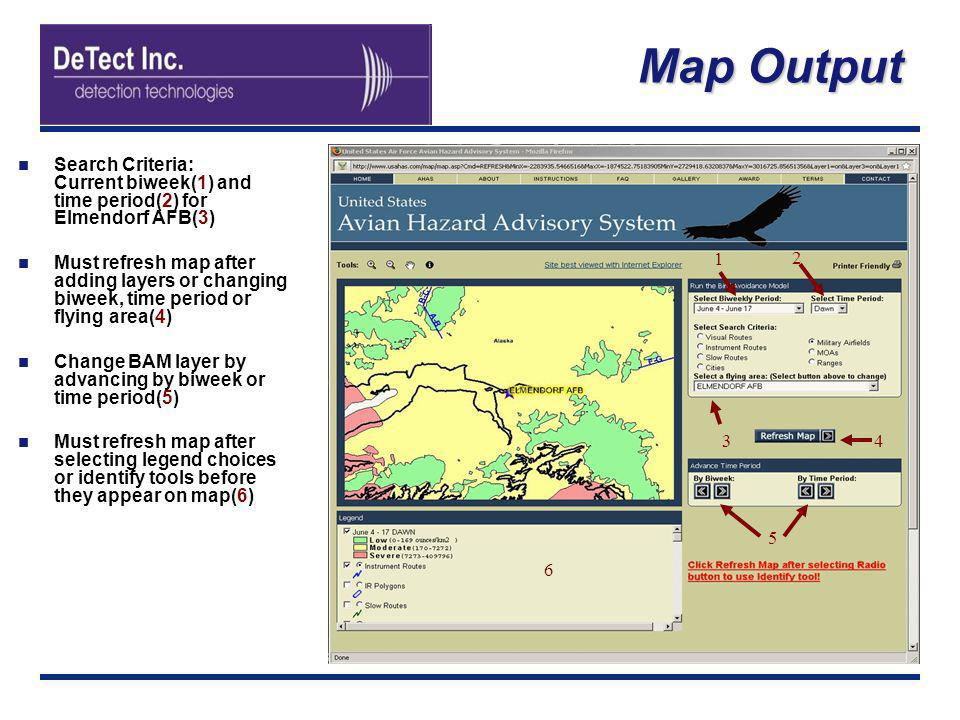 Map Output Search Criteria: Current biweek(1) and time period(2) for Elmendorf AFB(3) Must refresh map after adding layers or changing biweek, time pe