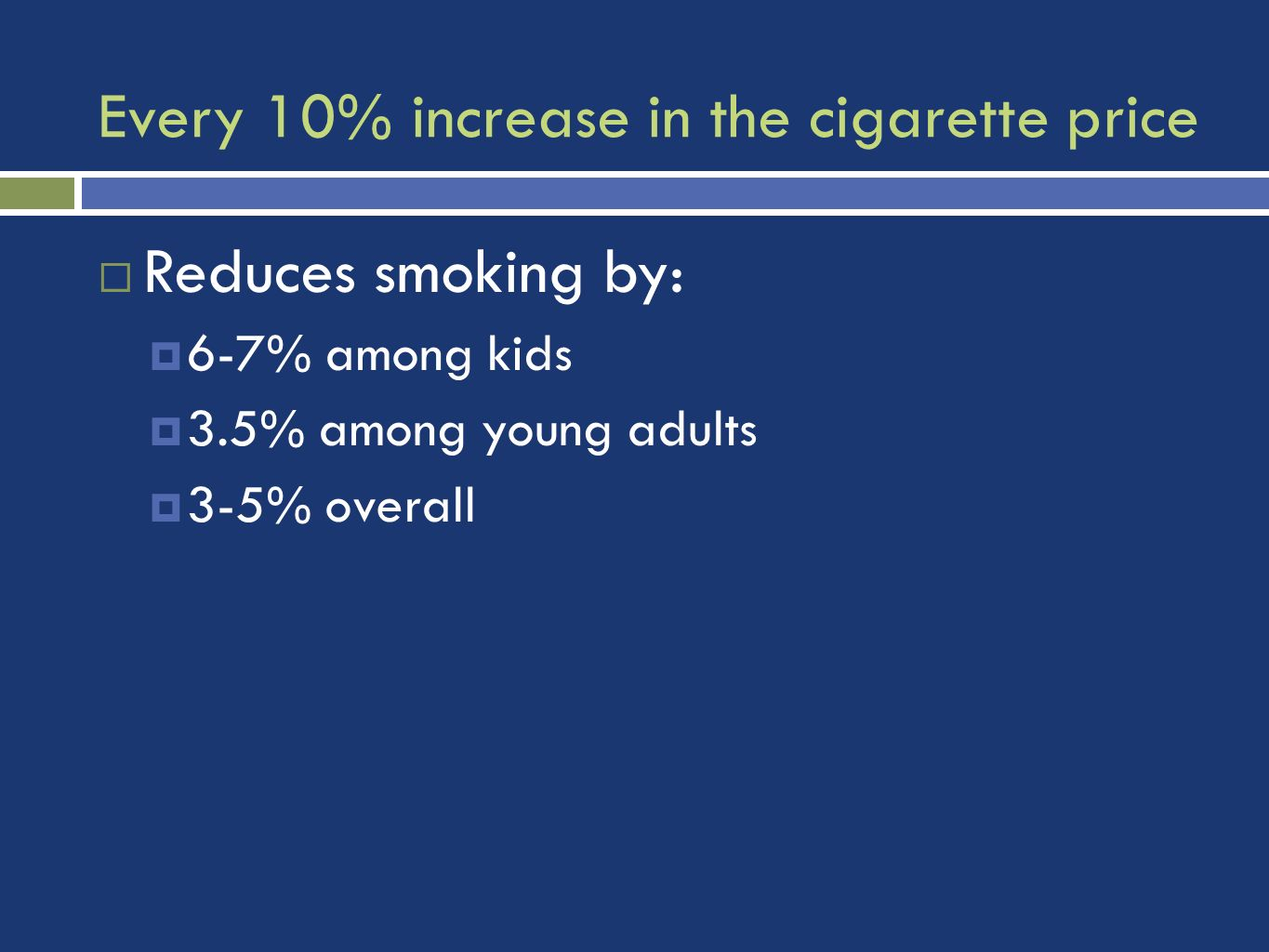 Every 10% increase in the cigarette price Reduces smoking by: 6-7% among kids 3.5% among young adults 3-5% overall