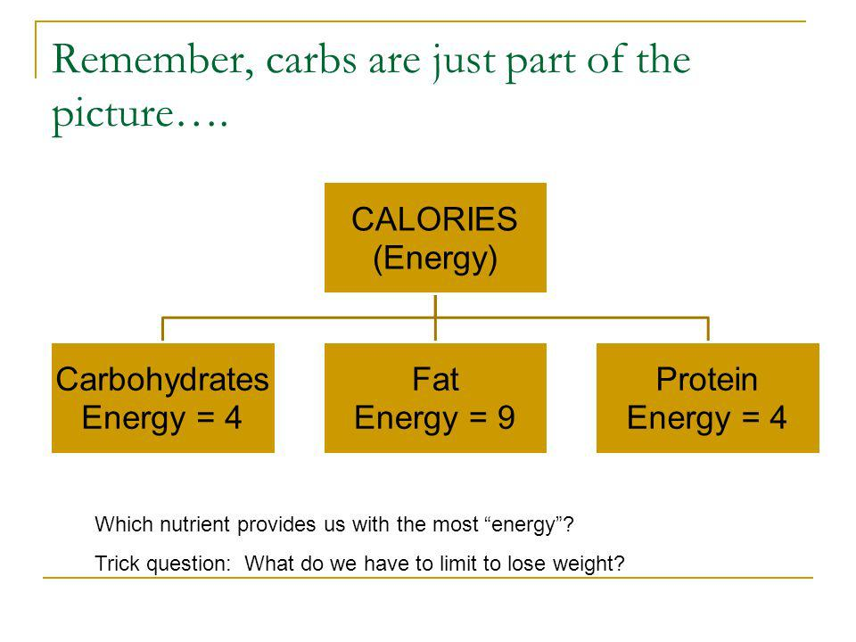 Remember, carbs are just part of the picture…. CALORIES (Energy) Carbohydrates Energy = 4 Fat Energy = 9 Protein Energy = 4 Which nutrient provides us