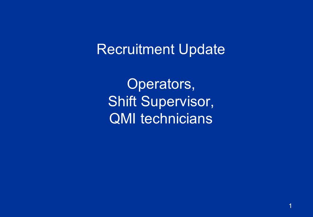 1 Recruitment Update Operators, Shift Supervisor, QMI technicians