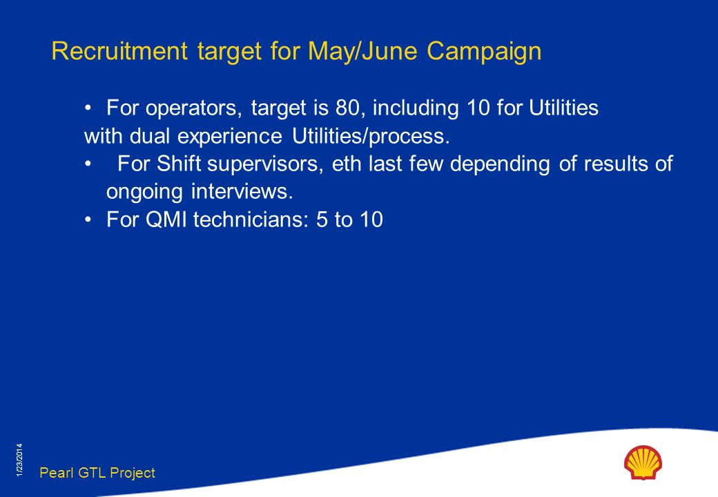 Pearl GTL Project 1/23/2014 Recruitment target for May/June Campaign For operators, target is 80, including 10 for Utilities with dual experience Utilities/process.