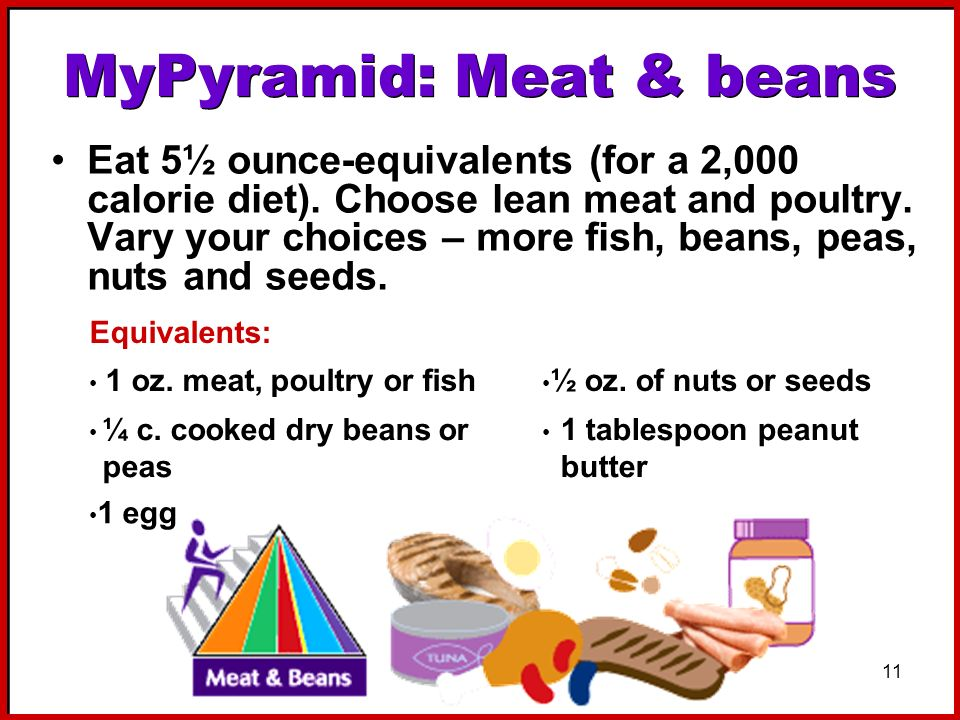 11 MyPyramid: Meat & beans Eat 5½ ounce-equivalents (for a 2,000 calorie diet). Choose lean meat and poultry. Vary your choices – more fish, beans, pe