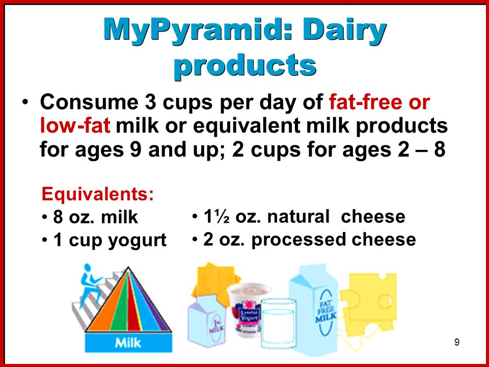 9 MyPyramid: Dairy products Consume 3 cups per day of fat-free or low-fat milk or equivalent milk products for ages 9 and up; 2 cups for ages 2 – 8 Eq