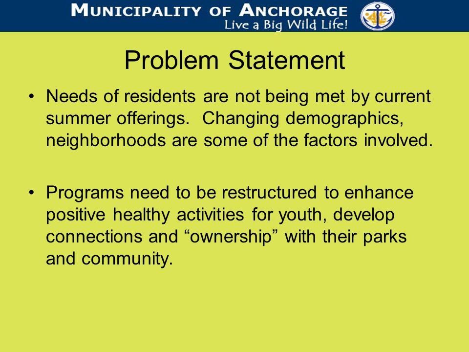 Problem Statement Needs of residents are not being met by current summer offerings.