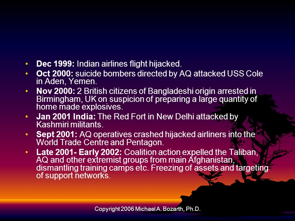 Copyright 2006 Michael A.Bozarth, Ph.D. Dec 1999: Indian airlines flight hijacked.