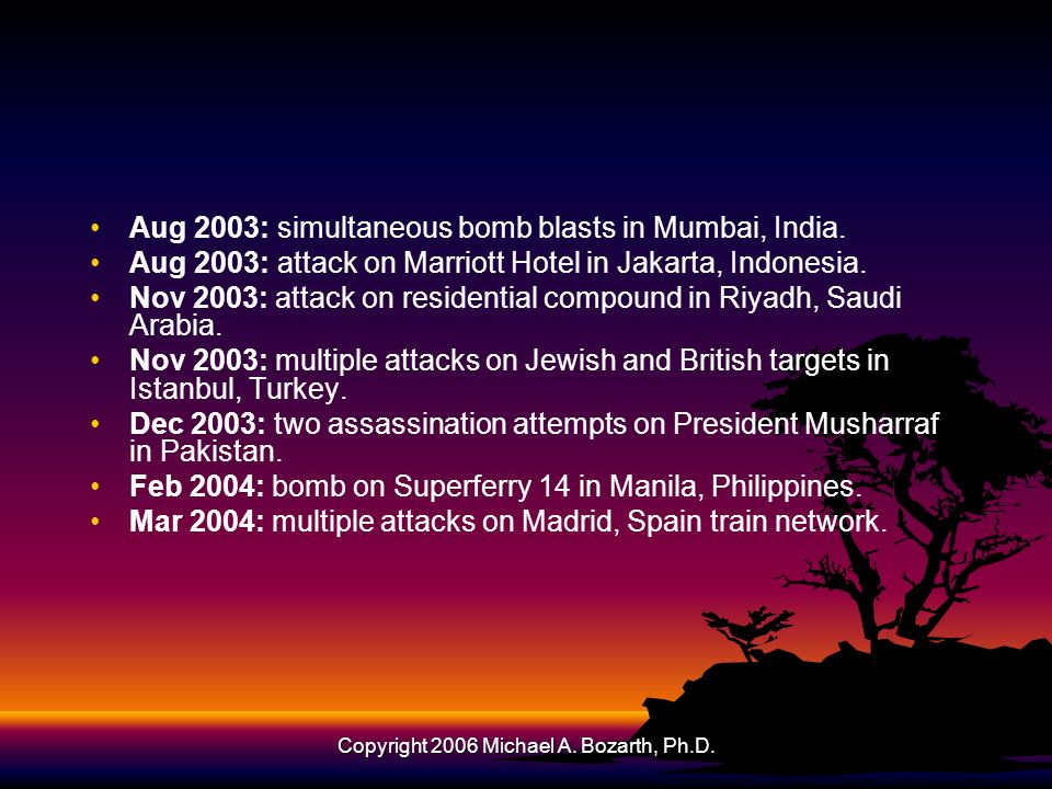 Copyright 2006 Michael A. Bozarth, Ph.D. Aug 2003: simultaneous bomb blasts in Mumbai, India. Aug 2003: attack on Marriott Hotel in Jakarta, Indonesia