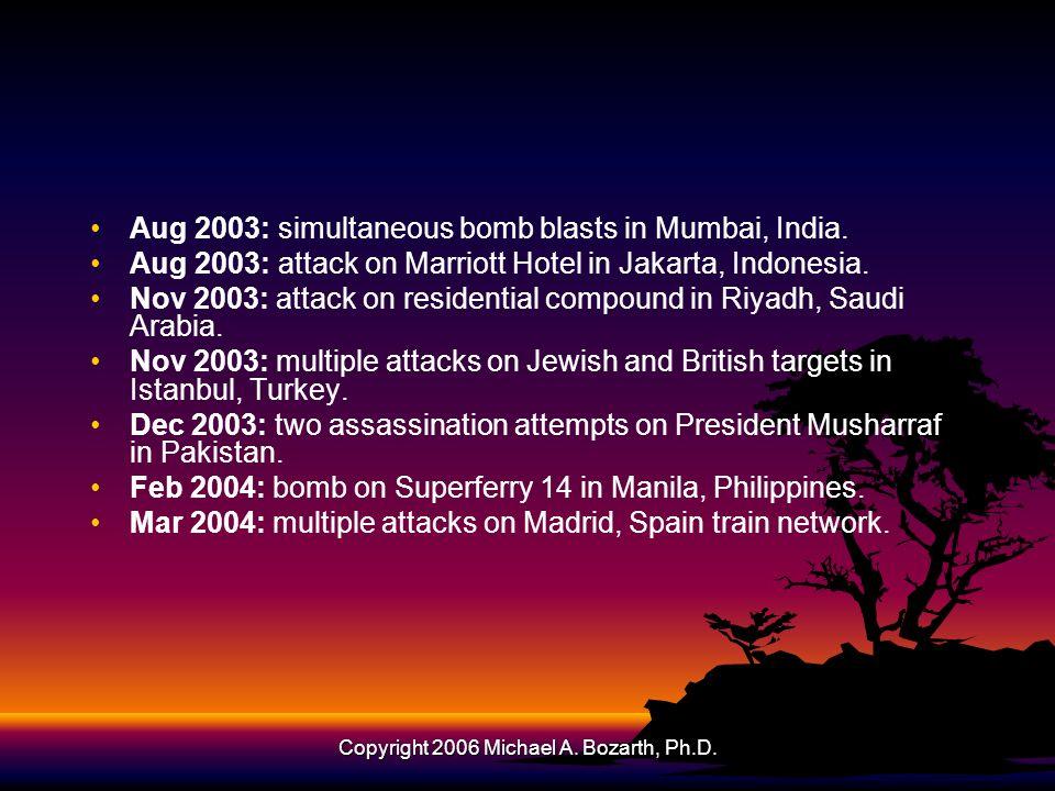 Copyright 2006 Michael A. Bozarth, Ph.D. Aug 2003: simultaneous bomb blasts in Mumbai, India.