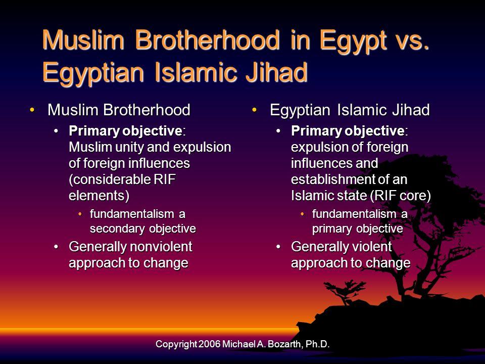 Copyright 2006 Michael A. Bozarth, Ph.D. Muslim Brotherhood in Egypt vs.