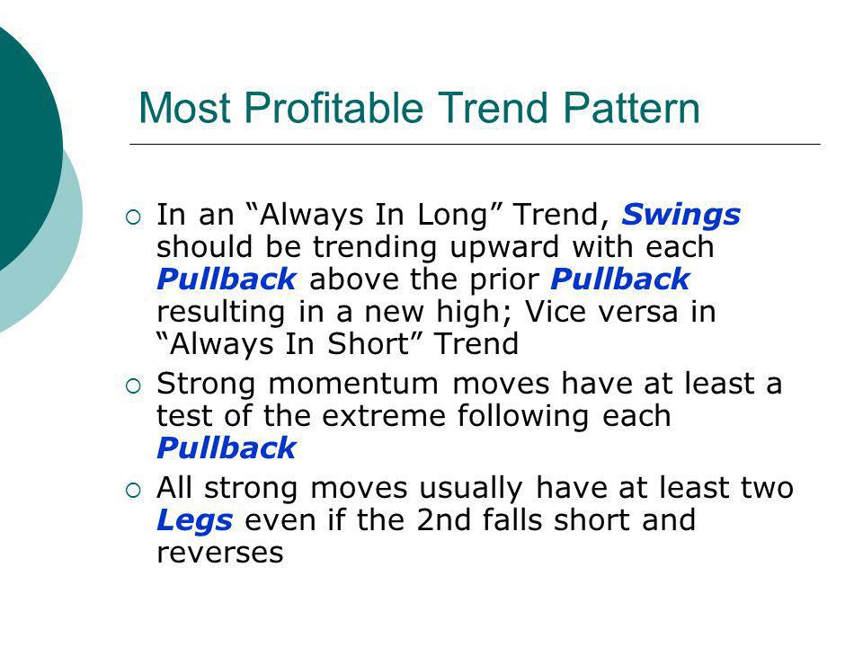 Most Profitable Trend Pattern In an Always In Long Trend, Swings should be trending upward with each Pullback above the prior Pullback resulting in a