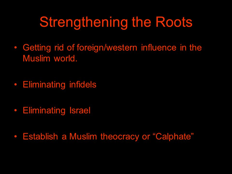 Strengthening the Roots Getting rid of foreign/western influence in the Muslim world.
