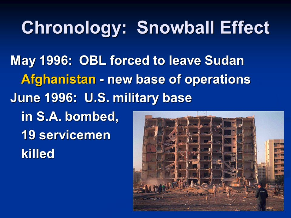 Chronology: Snowball Effect May 1996: OBL forced to leave Sudan Afghanistan - new base of operations June 1996: U.S. military base in S.A. bombed, 19