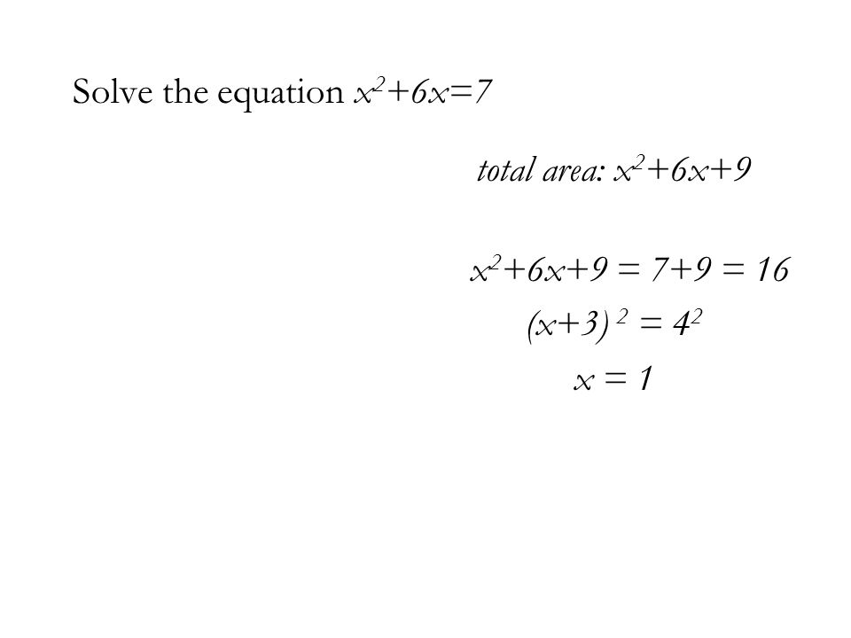 Solve the equation x 2 +6x=7 total area: x 2 +6x+9 x 2 +6x+9 = 7+9 = 16 (x+3) 2 = 4 2 x = 1