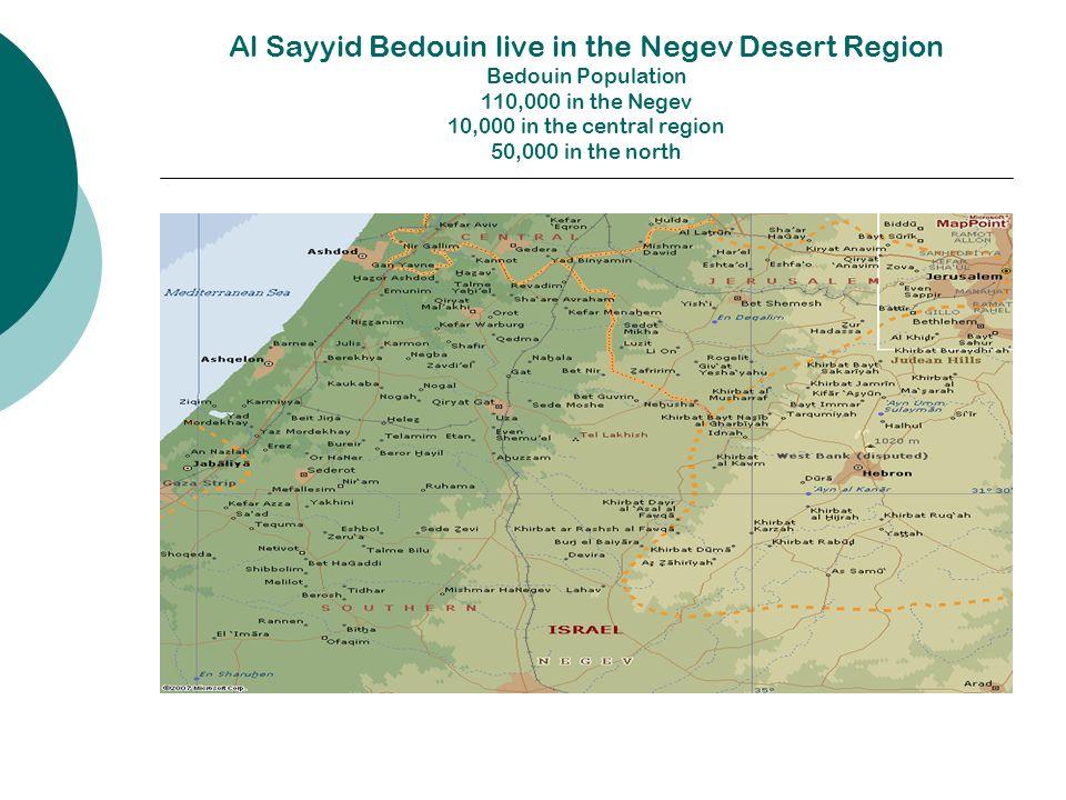 Al Sayyid Bedouin live in the Negev Desert Region Bedouin Population 110,000 in the Negev 10,000 in the central region 50,000 in the north