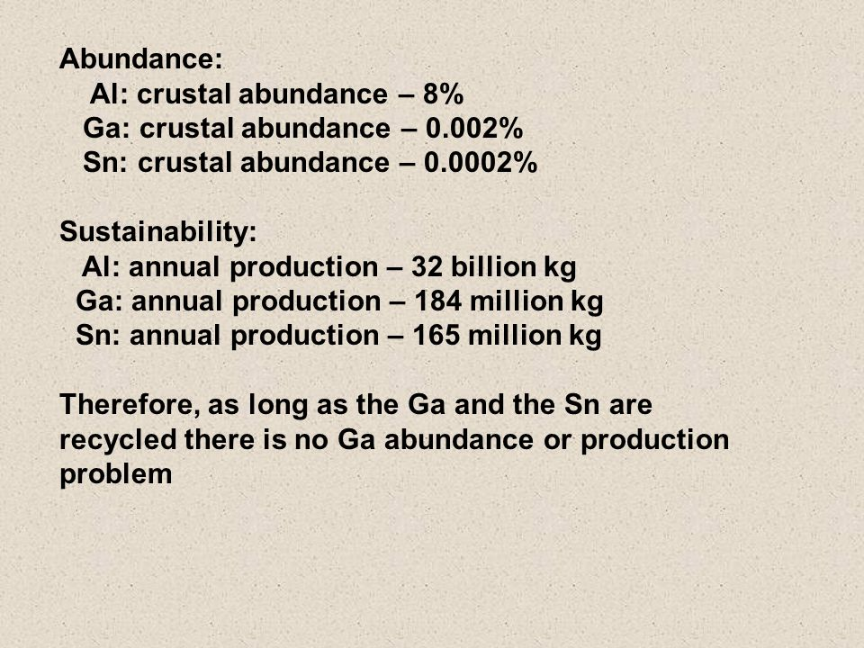 Abundance: Al: crustal abundance – 8% Ga: crustal abundance – 0.002% Sn: crustal abundance – 0.0002% Sustainability: Al: annual production – 32 billion kg Ga: annual production – 184 million kg Sn: annual production – 165 million kg Therefore, as long as the Ga and the Sn are recycled there is no Ga abundance or production problem