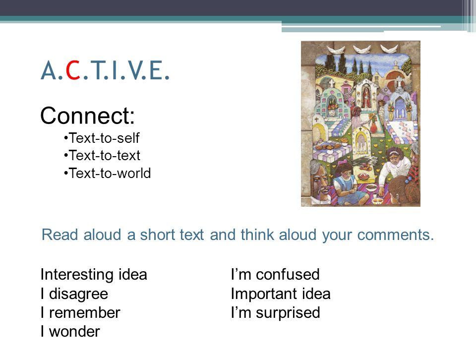 A.C.T.I.V.E. Connect: Text-to-self Text-to-text Text-to-world Interesting ideaIm confused I disagreeImportant idea I remember Im surprised I wonder Re