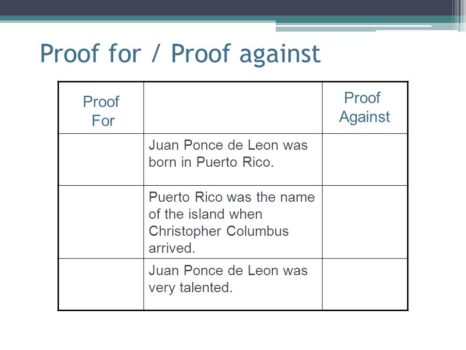 Proof for / Proof against Juan Ponce de Leon was born in Puerto Rico. Puerto Rico was the name of the island when Christopher Columbus arrived. Juan P