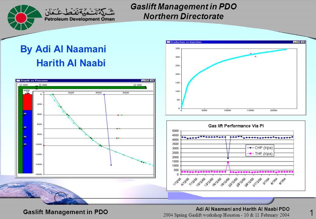 Adi Al Naamani and Harith Al Naabi PDO 2004 Spring Gaslift workshop Houston - 10 & 11 February 2004 Petroleum Development Oman Gaslift Management in PDO Challenges w.r.t.