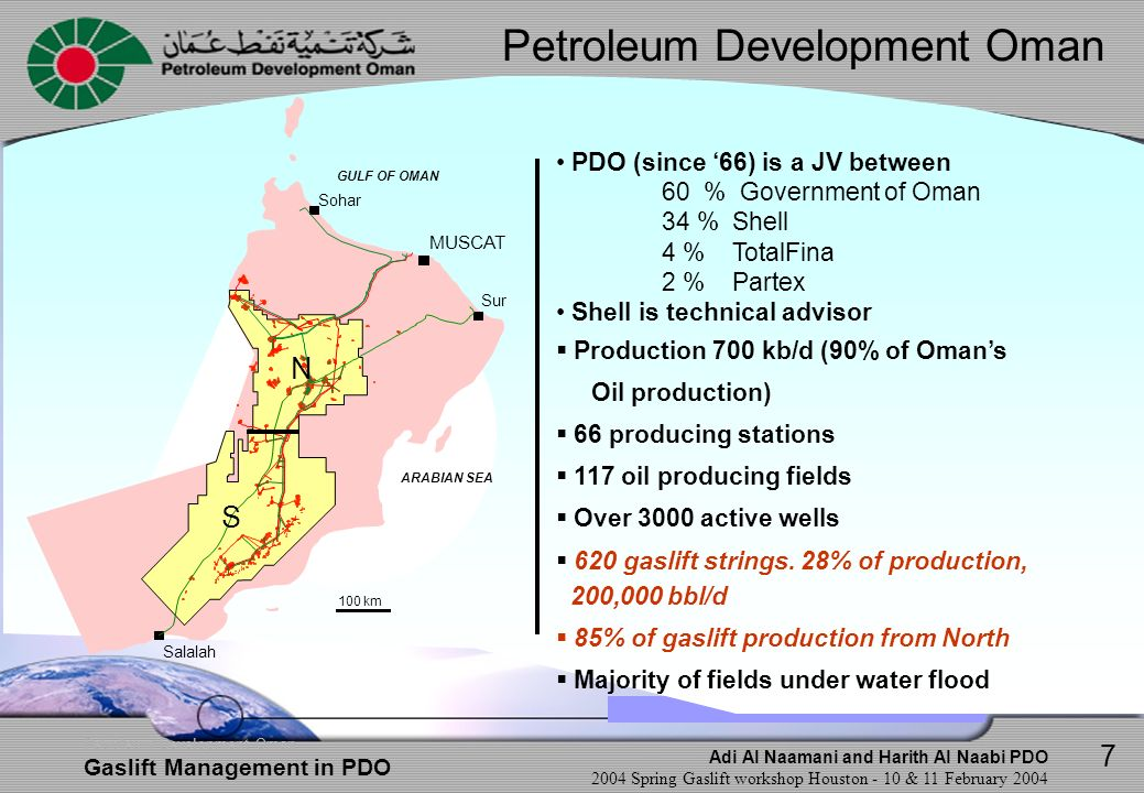 Adi Al Naamani and Harith Al Naabi PDO 2004 Spring Gaslift workshop Houston - 10 & 11 February 2004 Petroleum Development Oman Gaslift Management in PDO Specific Overview per Area Area B In Area B, test data quality is an issue Some wells were found quit Some wells found with scale obstruction.