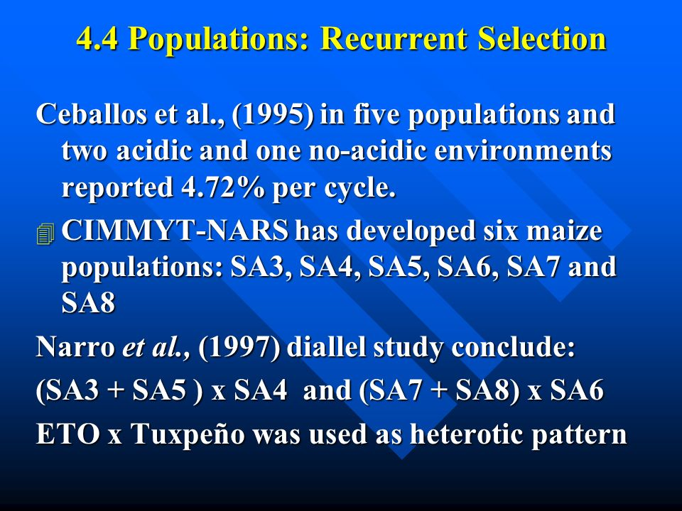 4.4 Populations: Recurrent Selection Ceballos et al., (1995) in five populations and two acidic and one no-acidic environments reported 4.72% per cycle.