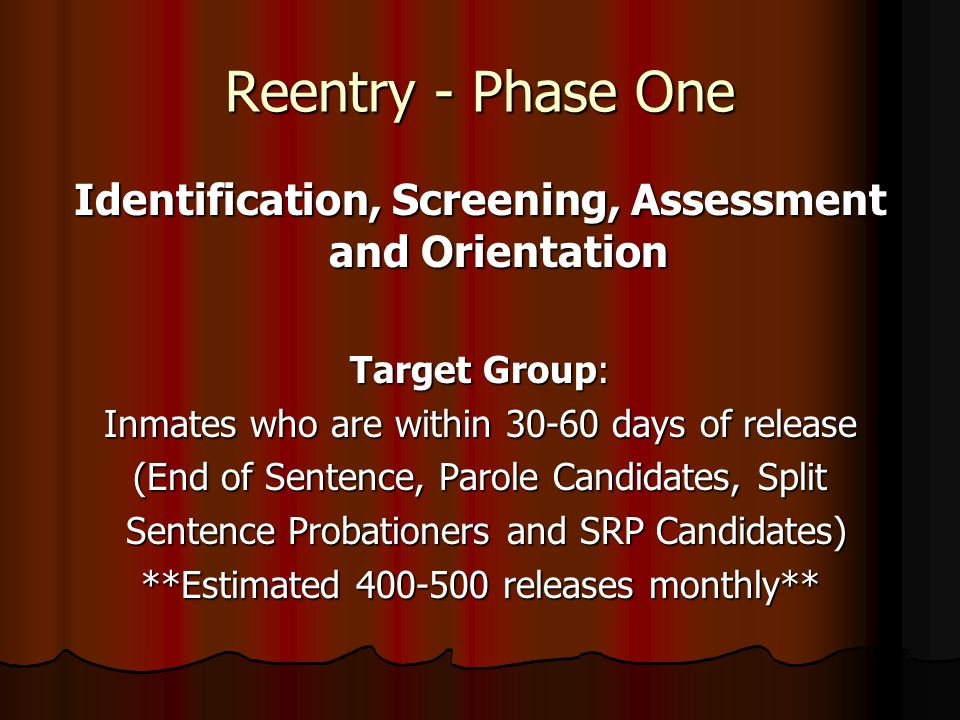 Reentry - Phase One Identification, Screening, Assessment and Orientation Target Group: Inmates who are within 30-60 days of release (End of Sentence,